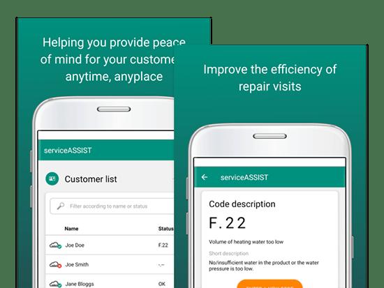 Promo Banner mit Customer list und Code description Screens auf grünem Grund im Rahmen des App Store Marketing für Vaillant