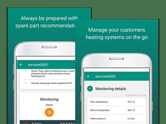 Promo Banner mit Monitoring und Monitoring details Screens auf grünem Grund im Rahmen des App Store Marketing für Vaillant