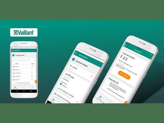 Promo Banner mit drei gezeigten Screens auf grünem Grund im Rahmen des App Store Marketing für Vaillant