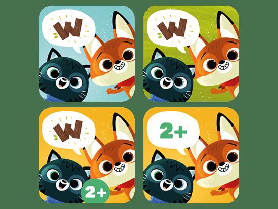 Vier verschiedene Versionen von App Icons der Kinder-App WoodieHoo für die App Marketing Beratung für Super RTL