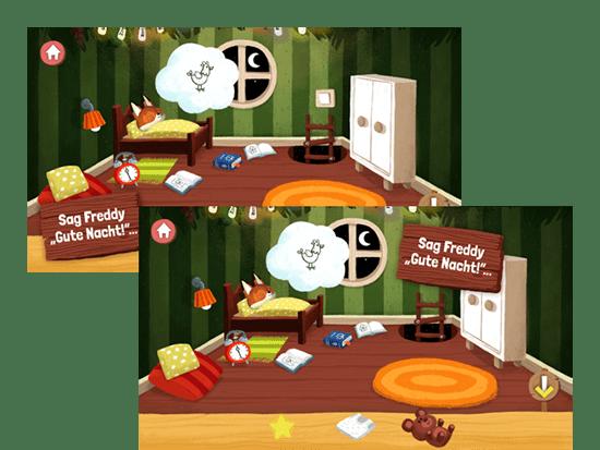 In-Game Screenshots eines Kinderzimmers der Kinder-App WoodieHoo für die App Marketing Beratung für Super RTL