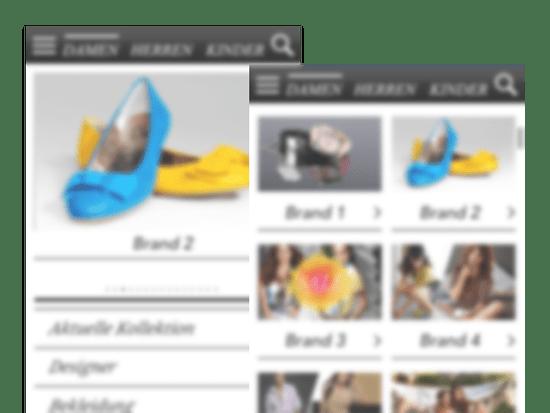 Beispiele der Produkt und Shop Screens der Best Secret App für Best Secret