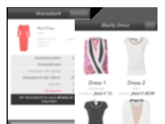 Beispiele der Produkt und Shop Screens mit Damenshirts der Best Secret App für Best Secret