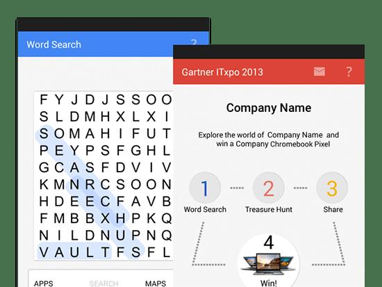 Word Search und Beispiel Company Screens der umgesetzten Event App (Schatzsuche) für N.N.