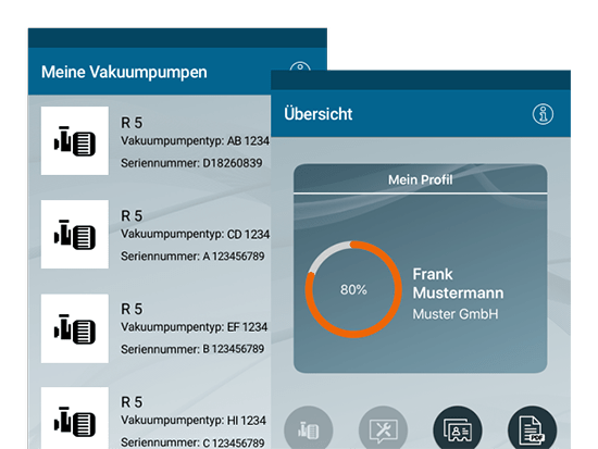 Meine Vakuumpumpen und Übersicht Screens der umgesetzten Kundenservice App für einen Vakuumpumpen Hersteller