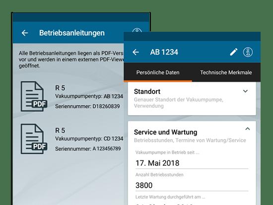 Betriebsanleitung und Persönliche Daten Screens der umgesetzten Kundenservice App für einen Vakuumpumpen Hersteller