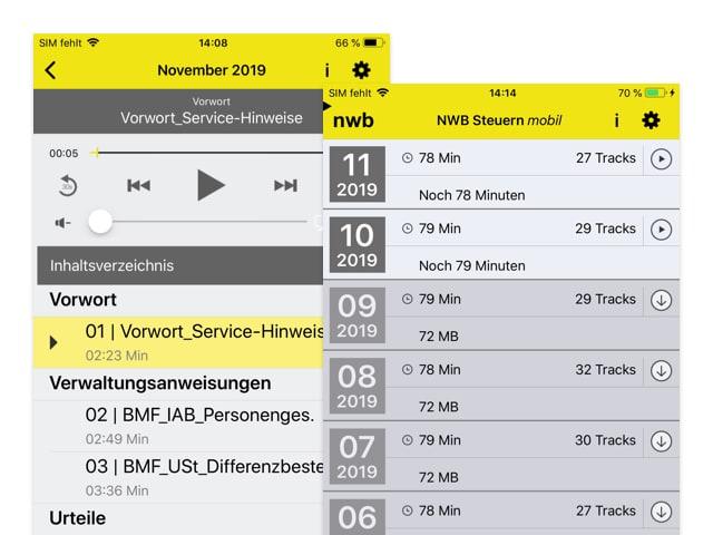 Audioplayer und Kalender Screens der umgesetzten NWB Steuern mobil App für den NWB Verlag