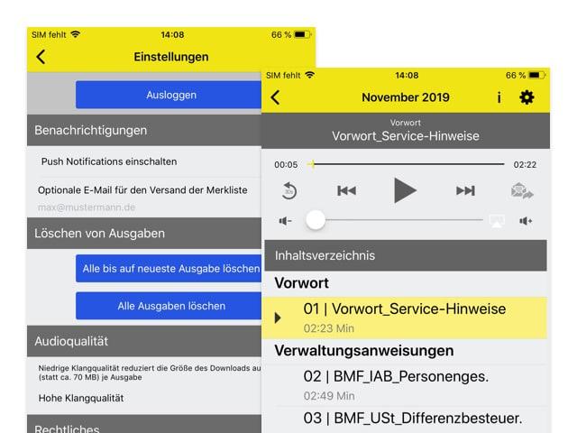 Audioplayer und Einstellungen Screens der umgesetzten NWB Steuern mobil App für den NWB Verlag