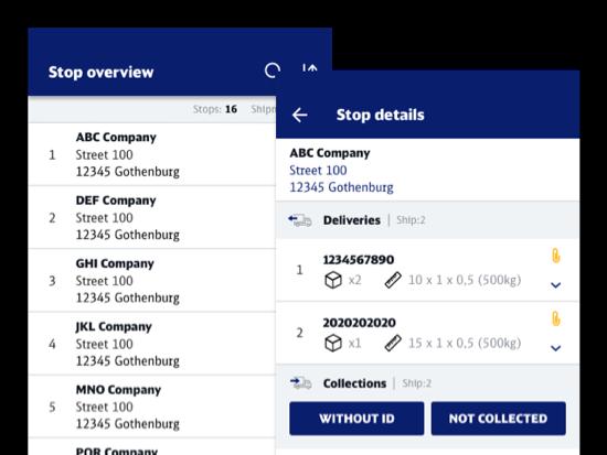 Stop overview und Stop details Screens der umgesetzten SAPP App für DB Schenker