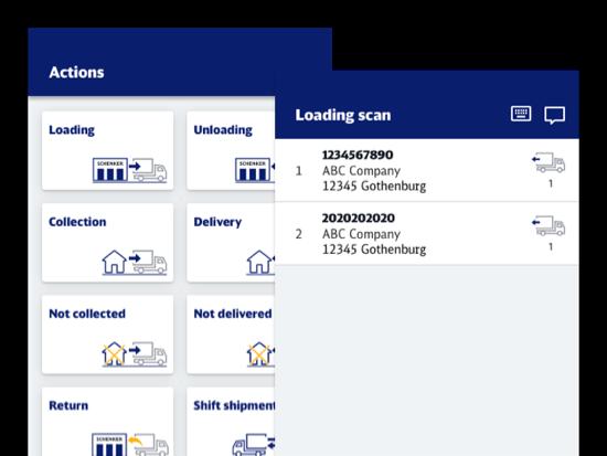 Actions und Loading scan Screens der umgesetzten SAPP App für DB Schenker