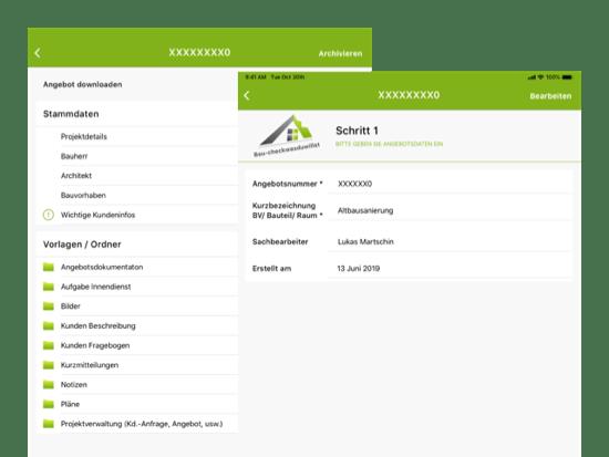Angebote downloaden und Schritt 1 Screens der umgesetzten Baucheck App für Baucheck-wdw