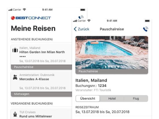 Meine Reisen und Pauschalreise Beispiel Screens der umgesetzten Num-Birds - Mein Reisebüro App für NumBirds