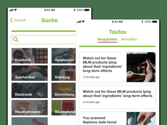 Suche und Toxfox Neuigkeiten Screens der umgesetzten Tox Fox App für Bund e.V