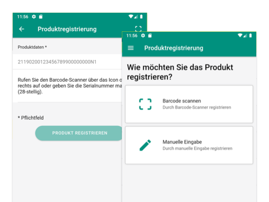 Produktregistrierungsscreens Produktdaten und Produktregistrierung der weiterentwickelten Loyalty App für Vaillant