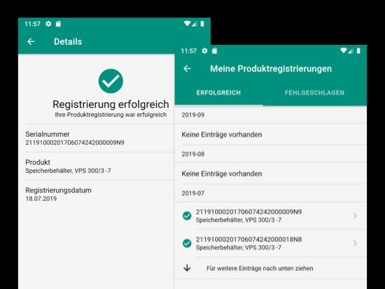 Details und Meine Produktregistrierungen Screens der weiterentwickelten Loyalty App für Vaillant