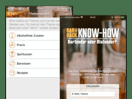 Themengebiet und Know-How Screens der umgesetzten Barback Know-how Quiz App für Hinzelf