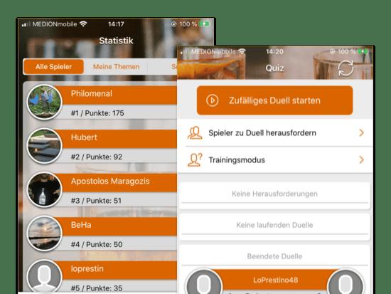 Alle Spieler und Quiz Screens der umgesetzten Barback Know-how Quiz App für Hinzelf