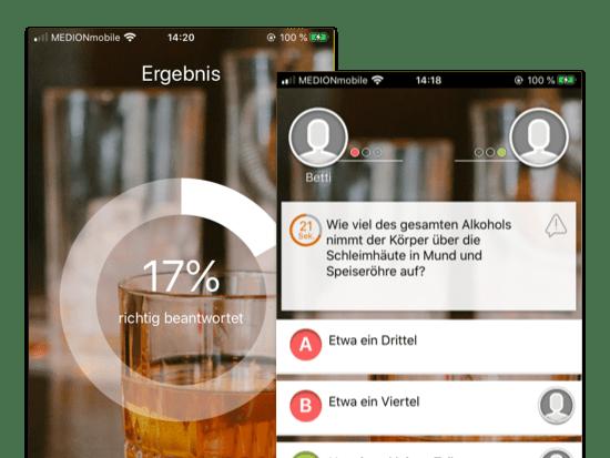 Ergebnis und Beispielfrage Screens der umgesetzten Barback Know-how Quiz App für Hinzelf