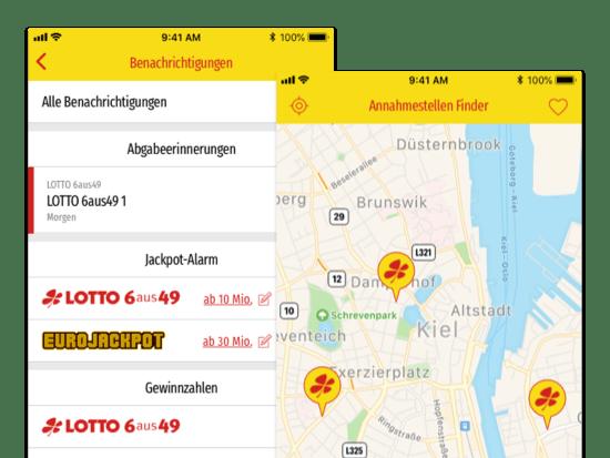 Benachrichtigungen und Annahmestellen Fenster Screens der umgesetzten LOTTO Schleswig-Holstein LOTTA App für LOTTO Schleswig-Holstein