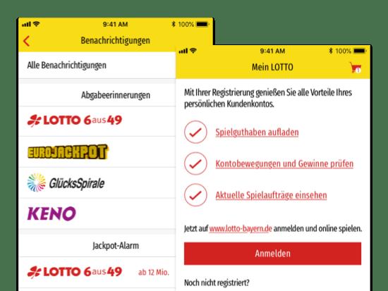 Screens Alle Benachrichtigungen und Mein LOTTO der umgesetzten LOTTO Bayern Online App