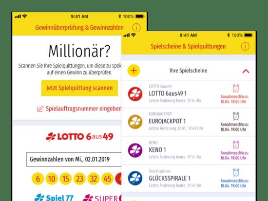 Gewinnüberprüfung & Gewinnzahlen und Spielscheine & Spielquittungen Screens der umgesetzten LOTTO Saarland ServiceApp für Saarland-Sporttoto