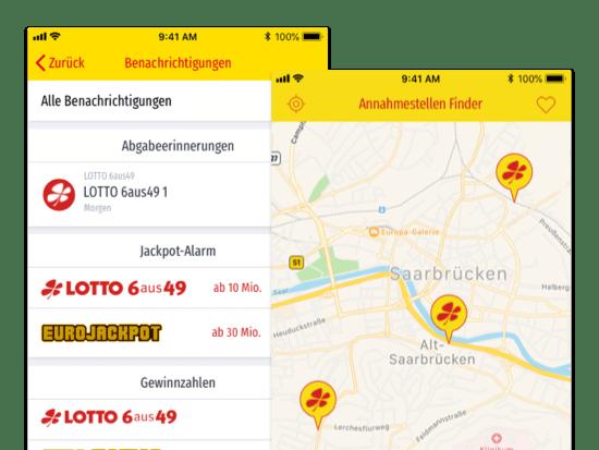 Benachrichtigungen und Annahmestelle Finder Screens der umgesetzten LOTTO Saarland ServiceApp für Saarland-Sporttoto