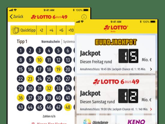 Quicktipp und Jackpot Screens der umgesetzten Berta App für die Deutsche Klassenlotterie Berlin