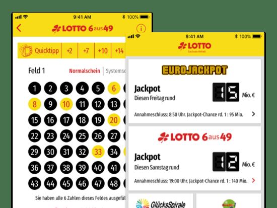 Lotto Quicktipp und Jackpot Screens der umgesetzten LOTTI App für LOTTO Sachsen-Anhalt