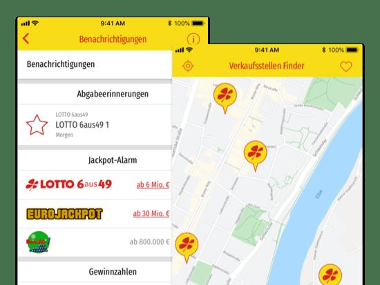 Benachrichtigungen und Verkaufsstellen Finder Screens der umgesetzten LOTTI App für LOTTO Sachsen-Anhalt