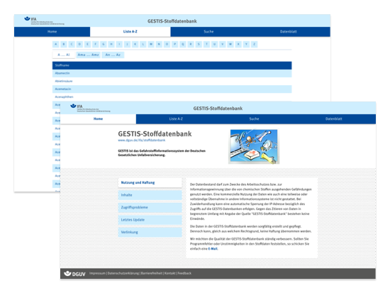 Liste A-Z und Home Screens der umgesetzten DGUV GESTIS Stoffdatenbank Website für das Institut für Arbeitsschutz der Deutschen Gesetzlichen Unfallversicherung