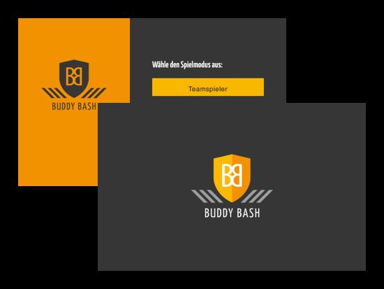 Logo und Wähle den Spielmodus aus Screens der umgesetzten Buddy Bash: Spiele App für die Buddy Bash UG