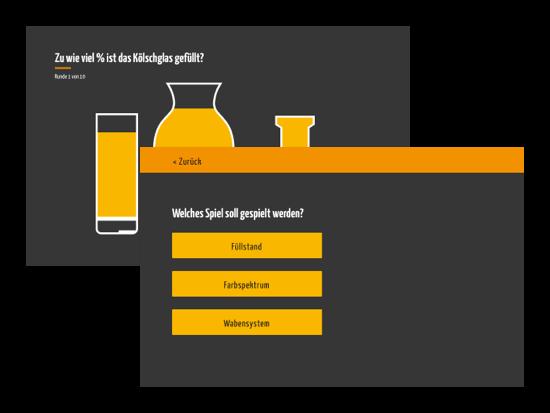 Spieleauswahl und Beispiel Screen für das Füllstand Spiel der umgesetzten Buddy Bash: Spiele App für die Buddy Bash UG