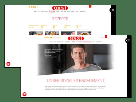 Rezepte und Engagement Screens der umgesetzten gazi.de Website für die garmo AG
