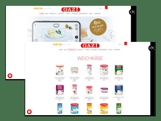 Home und Produkte Screens der umgesetzten gazi.de Website für die garmo AG