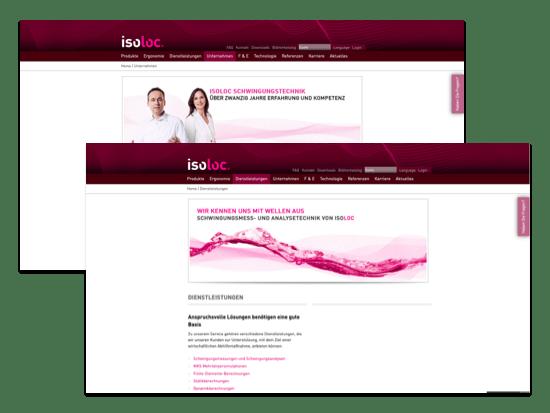 Screens Unternehmen und Dienstleistungen der umgesetzten isoloc GmbH Homepage