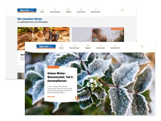 Homepage und News Screens der umgesetzten SpardaWelt Website