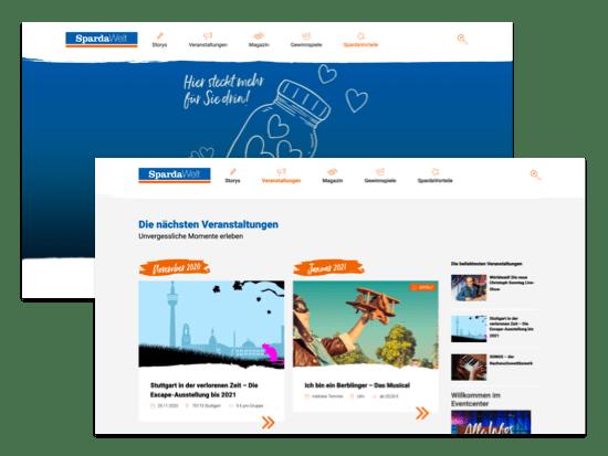 SpardaVorteile und Veranstaltungen Screens der umgesetzten SpardaWelt Website