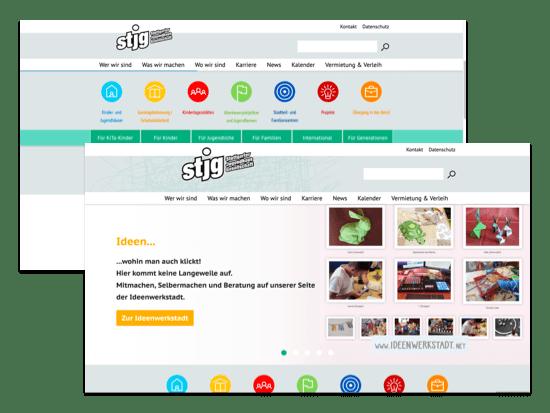 Verschiedene Abschnitte des Homescreens der umgesetzten Jugendhaus Website für die Stuttgarter Jugendhausgesellschaft