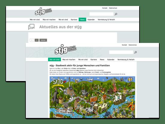 Wer wir sind und News Screens der umgesetzten Jugendhaus Website für die Stuttgarter Jugendhausgesellschaft