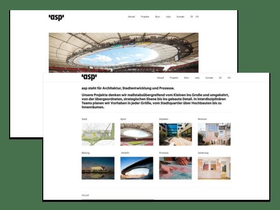 Verschiedene Abschnitte des Homescreens der umgesetzten asp-Stuttgart Website für die asp Architekten GmbH