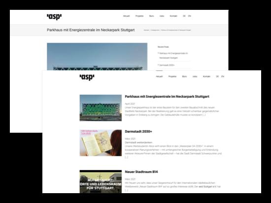 Beispiel Projekt eines Parkhauses und Aktuell Screens der umgesetzten asp-Stuttgart Website für die asp Architekten GmbH
