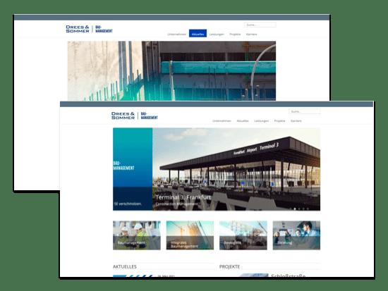 Homepage und Aktionen Screens der umgesetzten Drees & Sommer - Website für die Gassmann + Grossmann Baumanagement GmbH