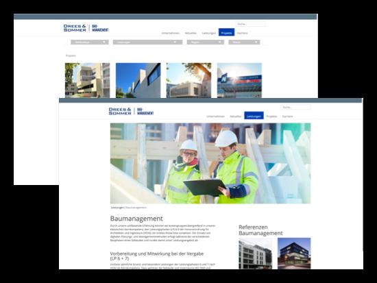 Weitere Beispielscreens der umgesetzten Drees & Sommer - Website für die Gassmann + Grossmann Baumanagement GmbH