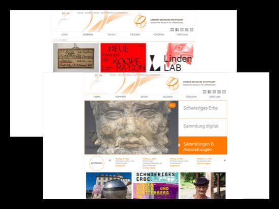 Sehen und Home Screens der umgesetzten Linden-Museum Stuttgart Website für das Staatliche Museum für Völkerkunde