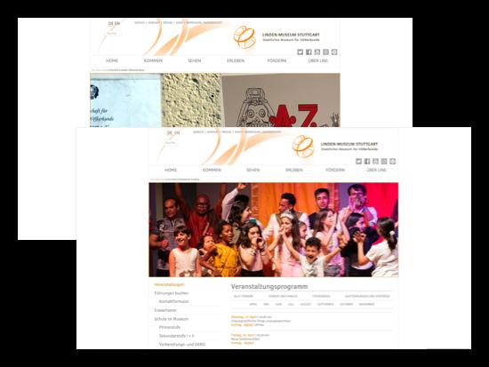 Erleben und Fördern Screens der umgesetzten Linden-Museum Stuttgart Website für das Staatliche Museum für Völkerkunde