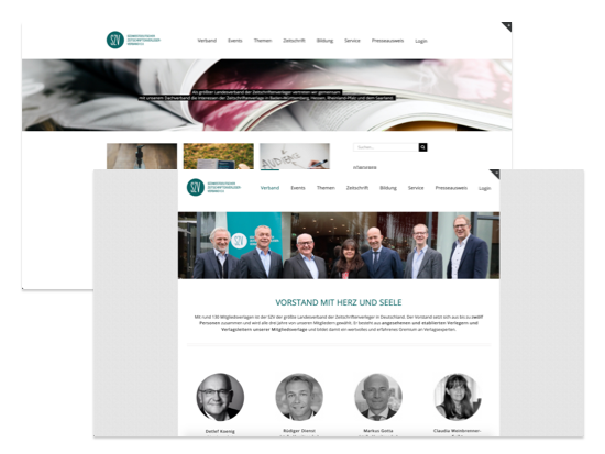 Homepage der umgesetzten SZV Website